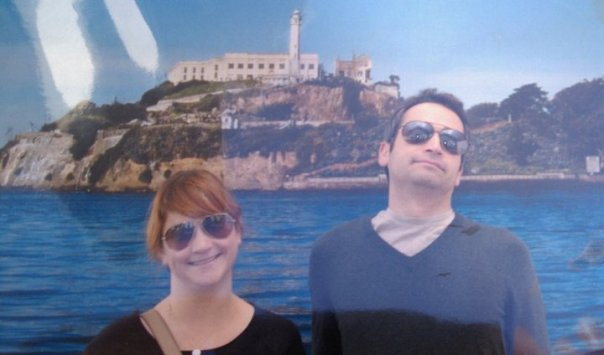 2010, in front of not the actual Alcatraz but a picture of it.